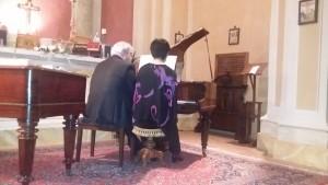 Il Maestro Claudio Veneri e la pianista Aya Azegami eseguono il Bolero di Ravel su un Coda da Concerto Erard del 1890